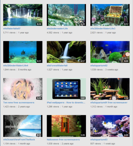top videos on free screensavers